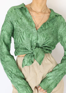 Vintage Green Satin Cinched Shirt (S)