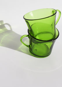Vintage Duralex Green Glass Mugs (Set of 2)