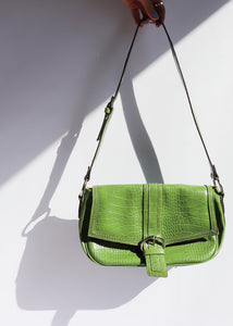 Vintage Green Faux Leather Croc Bag