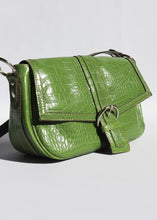 Load image into Gallery viewer, Vintage Green Faux Leather Croc Bag