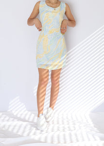 Vintage Pastel Yellow Patterned Mini Dress (S, M)