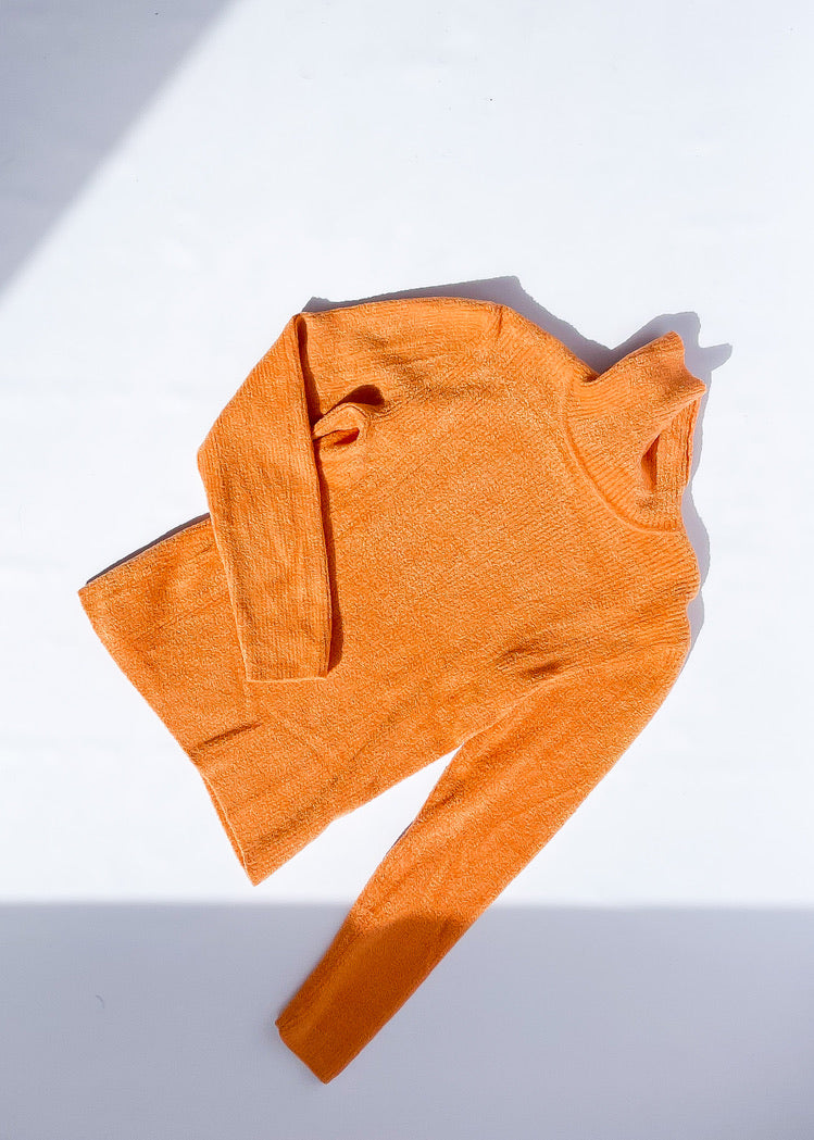 Vintage Fuzzy Light Orange Turtleneck (S)