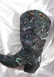 Vintage Irridescent Patterned Leather Western Boot (8, 8.5)