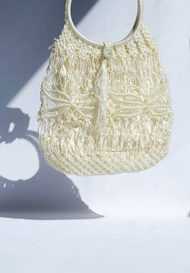 Vintage Cream Knit Summer Bag
