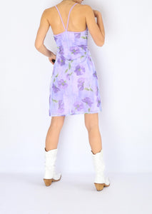 Vintage Purple Floral Dress (XS, S)
