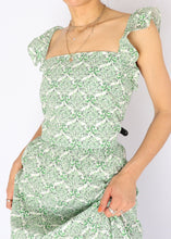 Load image into Gallery viewer, Modern Green Floral Garden Dress (L, XL)