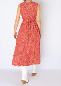 Vintage Bright Red Floral Dress (S)