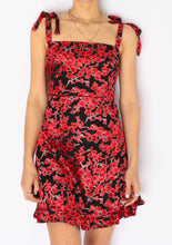 Load image into Gallery viewer, Modern Red Floral Velvet Mini Dress (XS, S)