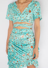Load image into Gallery viewer, Modern Teal Floral Cuttout Mini Dress (L)