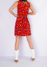 Load image into Gallery viewer, Vintage Red Floral Mini Dress (S)
