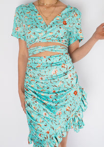 Modern Teal Floral Cuttout Mini Dress (L)