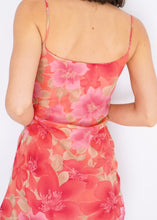 Load image into Gallery viewer, Vintage Coral Floral Chiffon Dress (S)