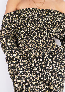 Modern Off-Shoulder Black Floral Dress (L, XL)