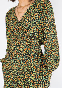 Modern Halogen Green Floral Wrap Dress (M, L)