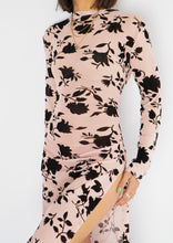 Load image into Gallery viewer, Modern Sheer Pink Floral Mockneck Dress (M)