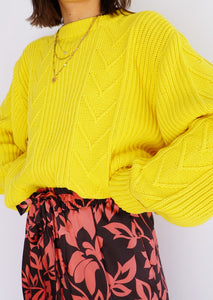 Vintage Yellow Cotton Knit Sweater (S-XL)
