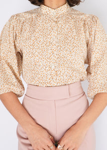 Vintage Orange Floral Puff-Sleeve Blouse (S, M)