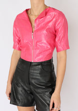 Load image into Gallery viewer, VINTAGE HOT PINK SHINY ZIP CROP (S, M)