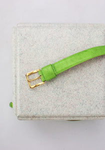VINTAGE BRIGHT GREEN LEATHER SNAKESKIN BELT (M)