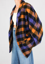 Load image into Gallery viewer, VINTAGE PURPLE GINGHAM WOOL JACKET