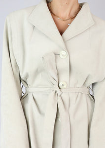 VINTAGE TAUPE FAUX SUEDE TRENCH (S, M)