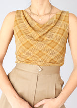 Load image into Gallery viewer, VINTAGE GOLD SHIMMER PLAID TOP (M, L)