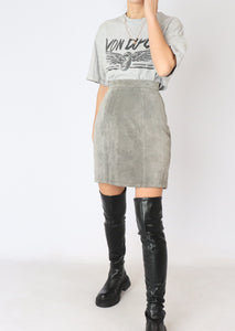 VINTAGE GREY SUEDE MINI SKIRT (XS, S)