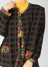 Load image into Gallery viewer, VINTAGE PLAID FLORAL BLAZER (S, M)