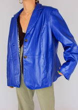 Load image into Gallery viewer, VINTAGE COBALT LEATHER BLAZER (L)