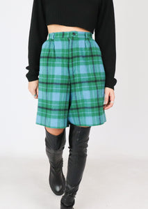 VINTAGE GREEN PLAID WOOL SHORT (S)