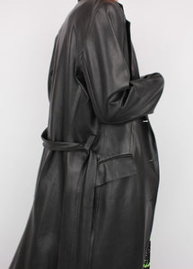 VINTAGE ZARA FAUX BUTTER LEATHER TRENCH (XS, S)