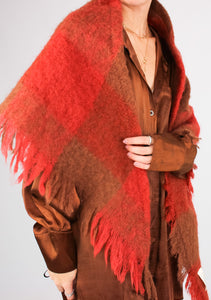 VINTAGE COPPER PLAID MOHAIR SHAWL