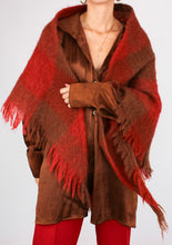 Load image into Gallery viewer, VINTAGE COPPER PLAID MOHAIR SHAWL