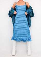 Load image into Gallery viewer, VINTAGE BLUE PATTERNED DRESS (M)