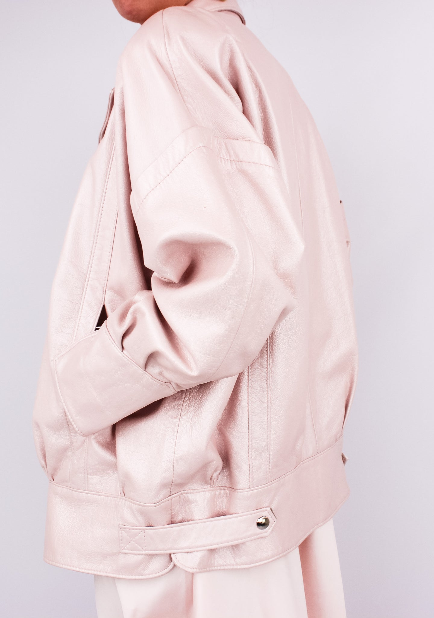 VINTAGE BABY PINK METALLIC LEATHER JACKET (M, 8)