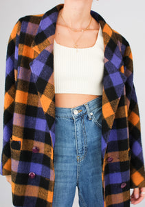 VINTAGE PURPLE GINGHAM WOOL JACKET