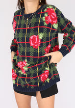 Load image into Gallery viewer, VINTAGE FLORAL HOUNDSTOOTH COTTON SWEATER (S, M)