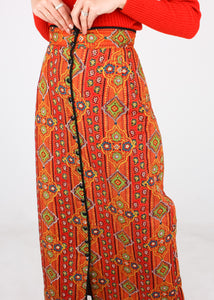 VINTAGE QUILTED PATTERNED SKIRT (S)