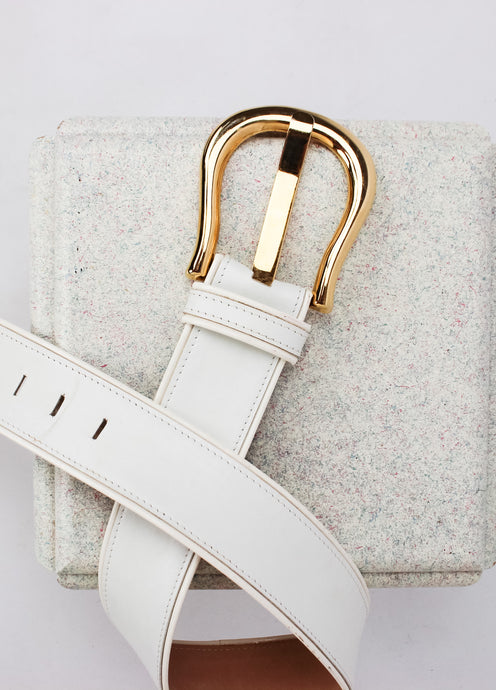 VINTAGE CHUNKY WHITE & GOLD BELT (S)