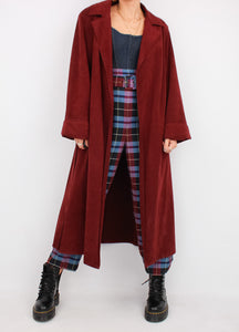 VINTAGE WINE RED SOFT TRENCH (S, M)