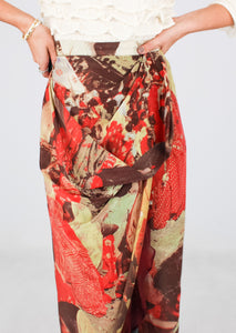 MOSCHINO COUTURE SILK PATTERNED SKIRT (XS)