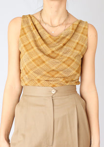 VINTAGE GOLD SHIMMER PLAID TOP (M, L)