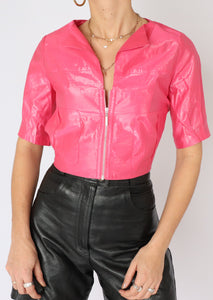 VINTAGE HOT PINK SHINY ZIP CROP (S, M)