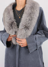 Load image into Gallery viewer, VINTAGE ASH BLUE FAUX FUR WARM TRENCH (S, M)