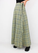Load image into Gallery viewer, VINTAGE HOUNDSTOOTH WOOL WRAP SKIRT (L)