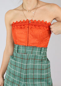 VINTAGE ORANGE LACE BUSTIER (S)