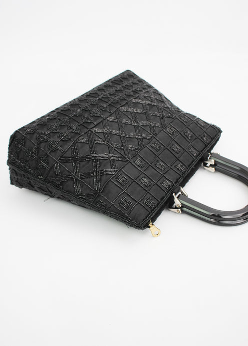 VINTAGE BEADED BLACK BAG