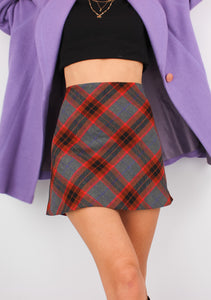 ZARA RED PLAID MINI SKIRT (S)