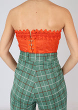 Load image into Gallery viewer, VINTAGE ORANGE LACE BUSTIER (S)