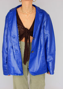 VINTAGE COBALT LEATHER BLAZER (L)